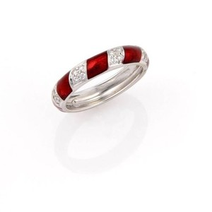 Hidalgo Hidalgo,18k,White,Gold,4mm,Band,With,Red,Enamel,Diamonds,-,Size,6