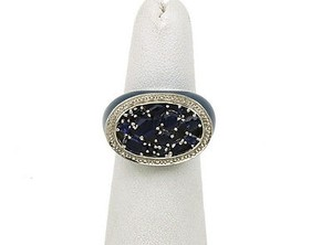Estate,Italian,14k,Gold,Enamel,1.00ct,Mixed,Shaped,Sapphires,Band,Ring