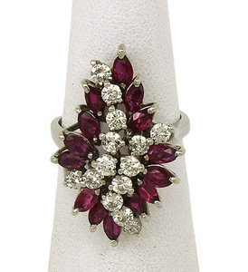 Estate,14k,Gold,5.40ct,Diamonds,Rubies,Ladies,Dress,Cocktail,Ring