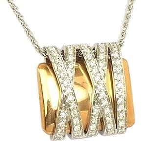 Koesis Koesis,Italy,Two,Tone,18k,Gold,Diamonds,Trendy,Pendant,With,Chain