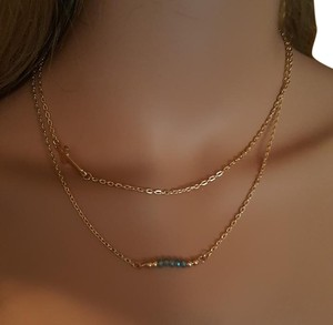 Gold Plated Side Cross Layered Necklace
