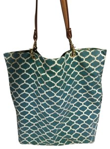 J.McLaughlin Tote in jade green and white