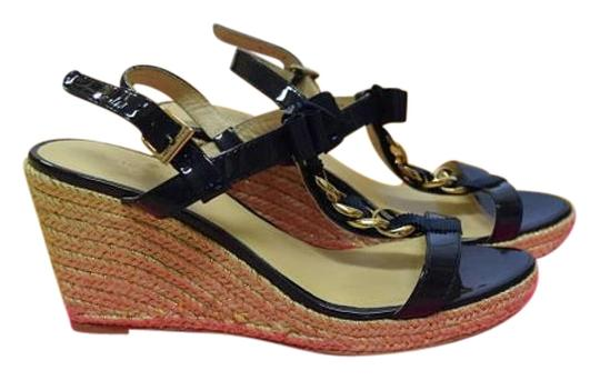 Kate Spade Patent Leather Espadrille Sandal blue Wedges