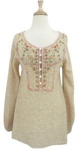 Free People Tunic Embroidered Floral Boho Sweater