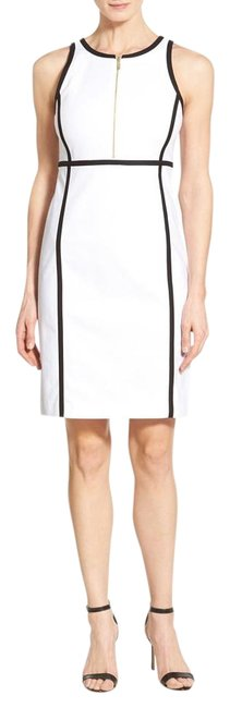 Preload https://item3.tradesy.com/images/michael-kors-white-contrast-trim-front-zip-sheath-reduced-knee-length-short-casual-dress-size-10-m-18979927-0-1.jpg?width=400&height=650