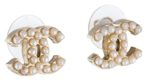 Chanel Gold-tone Chanel interlocing CC pearl stud earrings