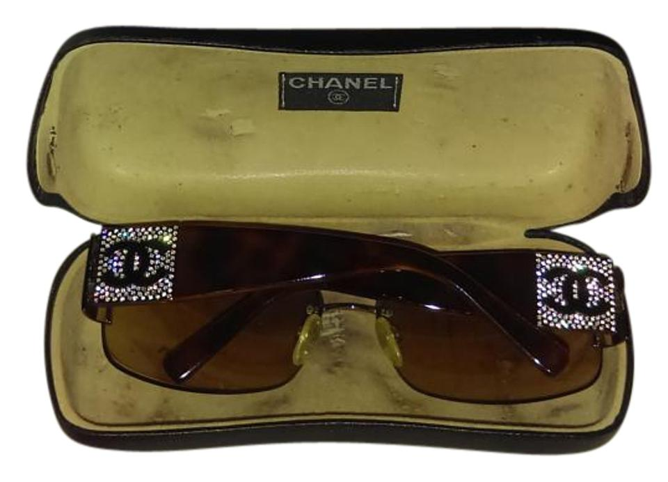 3719f0df33 Chanel Black Chanel Rectangular Interlocking Mother of Pearl CC Sunglasses  Image 0 ...