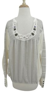 Free People Peasant Jeweled Scoop Neck Gathered Loose Fit Top ivory, gray