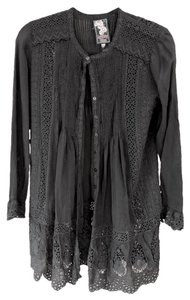 Johnny Was Rayon Eyelet Button Down Shirt Black