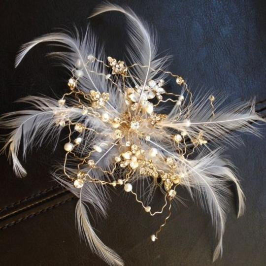 Gold Feather Crystal Clip Hair Accessory