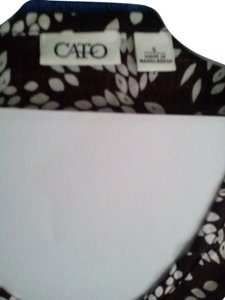 Cato Top Dark Brown and White
