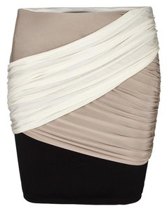 AllSaints Bodycon Draped Tight Mini Skirt beige, black, ivory