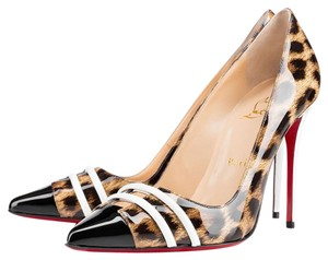 Christian Louboutin Patent Leather Leopard Black, Brown, White Pumps