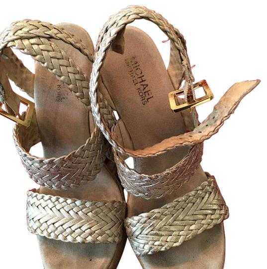 MICHAEL Michael Kors Espadrille Leather Gold Wedges