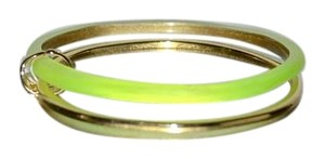 Alexis Bittar NEW Alexis Bittar Paired Lucite Gold Bangle Bracelets NEON YELLOW
