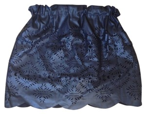Piperlime Leather Pieced Laser Cut Mini Skirt Black