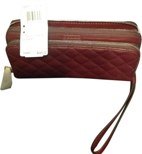 Coach Burgundy Quilted Double Accordion Wallet