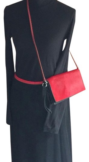 Preload https://item5.tradesy.com/images/ellen-tracy-redblack-leather-and-calf-hair-clutch-18982594-0-1.jpg?width=440&height=440