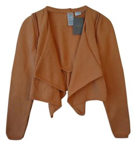 Anthropologie Orange Draped Open Front Cardigan