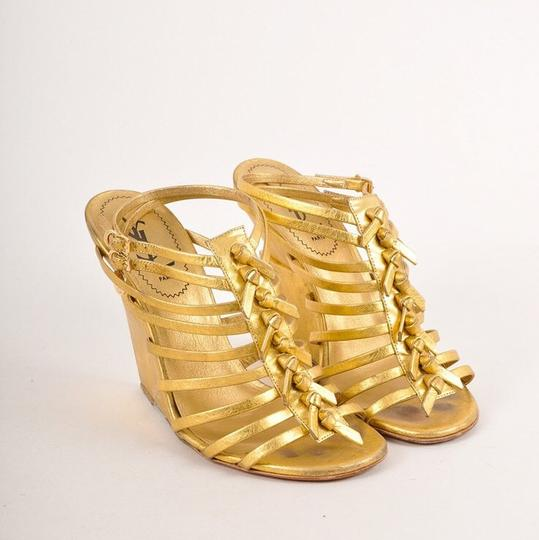 Saint Laurent Gold Wedges