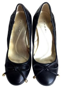 Tahari Office Teacher Livvy Ballet Cap Heel Black Pumps