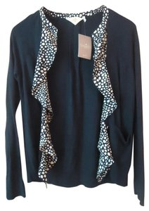 Anthropologie Polka Dot Hwr Cotton Blend Cardigan