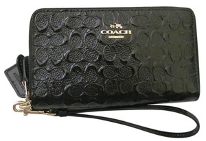 Coach Coach F54808 Double Zip Signature Debossed Patent Leather Wallet