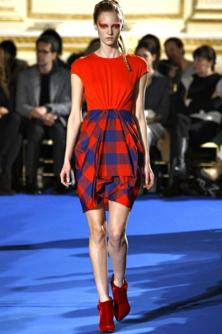 Thakoon short dress Red/Blue Plaid Taffeta Hi Lo Twist Cap Sleeve on Tradesy