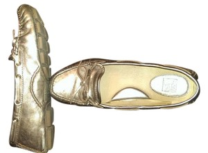 Frye Slip On Leather Gold with a little bronz metallic Flats