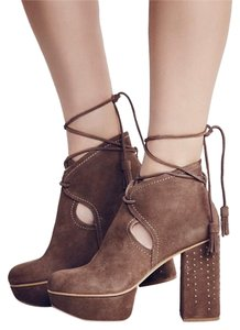 Free People Platform Taupe Suede Boots