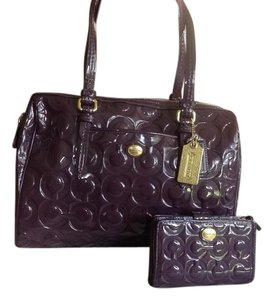 Coach Trendy Roomy Satchel in Burgundy plus FREE wallet/