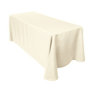12 - 90x132 Rounded Corners Ivory Table Linens