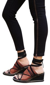Free People Sandals Black/Brown Black/Brown Leather Wedges