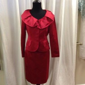 Teri Jon Teri Jon Rickie Freeman 100% Silk Red Satin Dress Suit Size 2