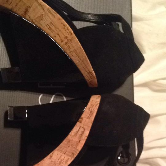 Via Spiga Black Suede Wedges