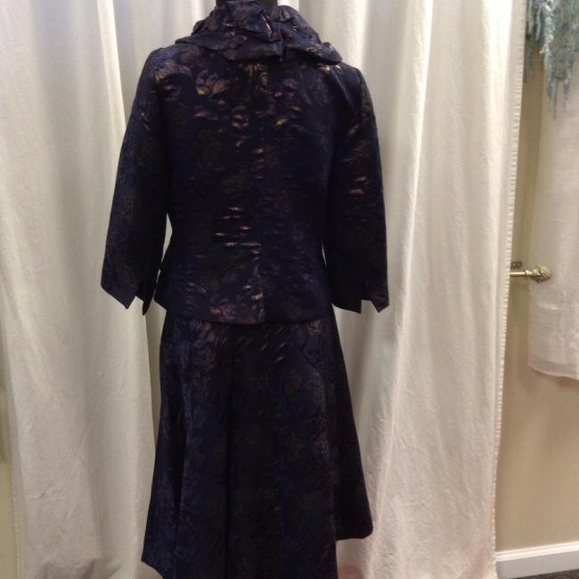 Teri Jon Teri John Rickie Freeman Navy/Bronze Floral Tapestry Wool Blend Dress Suit Size 2/4
