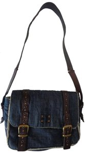 Dolce&Gabbana Studded Grommets Excellent Denim + Leather Cross Body Bag