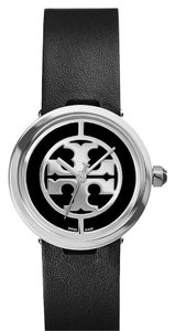 Tory Burch NIB TORY BURCH REVA WATCH BLACK LEATHER STAINLESS STEEL LOGO $295