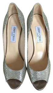 Jimmy Choo Glitter Wedge Gold Wedges