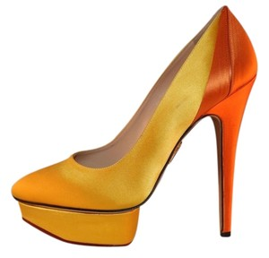 Charlotte Olympia Satin Sateen Platform Luxury Yellow Pumps