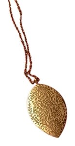 Me & Ro Me & Ro 18K Gold Large Engraved Paisley Teardrop Pendant Necklace