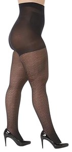 Curvation Curvation Women's Plus 3X Tummy Smoother Tights - Chevron