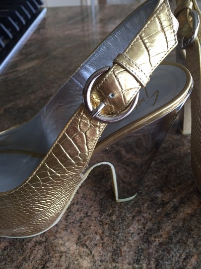 Giuseppe Zanotti Leather Gold Silver Buckle Platforms