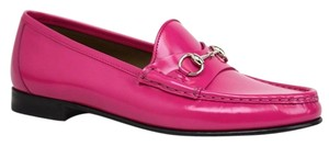 Gucci Leather Horsebit Moccasins 355238 Fuchsia Flats