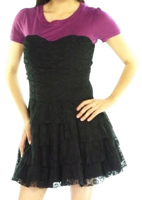 Preload https://item5.tradesy.com/images/blackpurple-lace-corset-ruffle-tier-bottom-above-knee-night-out-dress-size-4-s-18987454-0-1.jpg?width=400&height=650