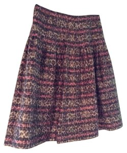 Kay Unger Leopard Knee Length Full Skirt Pink and Brown