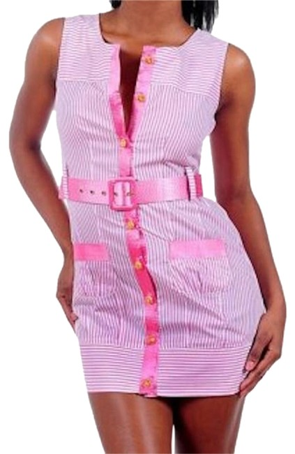 Preload https://img-static.tradesy.com/item/18987697/pink-white-jackie-o-style-belted-sleeveless-striped-mini-night-out-dress-size-4-s-0-1-650-650.jpg