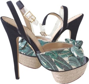 Charlotte Olympia Serena Vinyl Bow Black Green Sandals