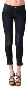 J Brand Leather Mid Rise Skinny Jeans-Dark Rinse