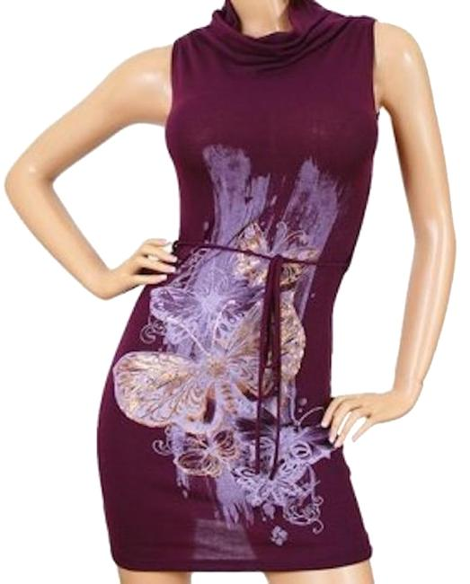 Preload https://item2.tradesy.com/images/purple-cowl-neck-foil-butterfly-knit-belted-thin-sweater-above-knee-night-out-dress-size-8-m-18988156-0-1.jpg?width=400&height=650